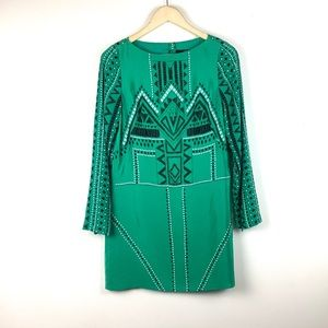Tibi- silk tribal print long sleeve shift dress